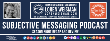 A footer graphic with a blue background and a white centered title that reads Subjective Messaging Podcast Season Eight Recap and Review. The Wait What Really OK Logo as well as a center text that reads Brand Messaging Strategist Loren Weisman with and FSG logo and other text. Beneath the title image are some social media and podcast icons.