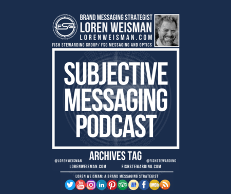An archives tag graphic with a blue background and a white title inside of a white outlined rectangle that reads Subjective messaging podcast. Above is the FSG logo as well as some text and an image of Loren Weisman. Beneath the rectangle is some smaller text and a series of social media icons.