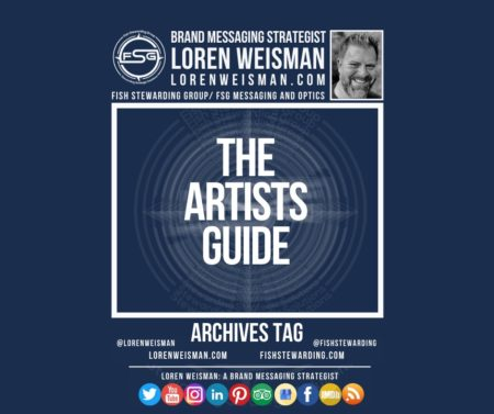 An archives tag graphic with a blue background and a white title inside of a white outlined rectangle that reads The Artists guide. Above is the FSG logo as well as some text and an image of Loren Weisman. Beneath the rectangle is some smaller text and a series of social media icons.