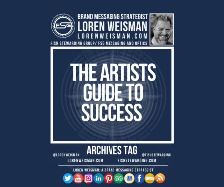 An archives tag graphic with a blue background and a white title inside of a white outlined rectangle that reads The Artists guide to success. Above is the FSG logo as well as some text and an image of Loren Weisman. Beneath the rectangle is some smaller text and a series of social media icons.