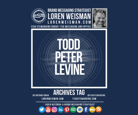 An archives tag graphic with a blue background and a white title inside of a white outlined rectangle that reads Todd Peter Levine. Above is the FSG logo as well as some text and an image of Loren Weisman. Beneath the rectangle is some smaller text and a series of social media icons.