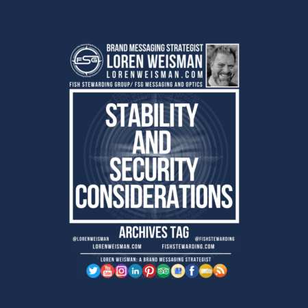 An archives tag graphic with a blue background and a white title inside of a white outlined rectangle that reads Stability and Security Considerations Above is the FSG logo as well as some text and an image of Loren Weisman. Beneath the rectangle is some smaller text and a series of social media icons.