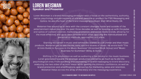 A purplue baack ground with an image of Loren Weisman in black and white in the bottom left corner and an image of red tomatoes in the upper right corner with a great deal of white text that covers Loren Weismans bio.