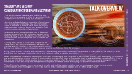 The Talk Title overview. A great deal of text that covers the outline of the stability and security considerations talk from Loren Weisman with an image of a red salsa container in the right corner with a Fish Stewarding Group watermark and a Wait What Really OK watermark.