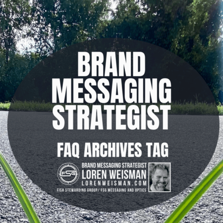 An image with a side walk in the background with some trees in the distance and two green leaves on each side of a gray shaded circle with text inside that reads brand messaging strategist FAQ archives tag.
