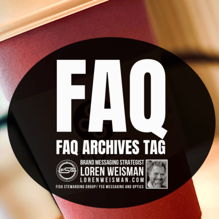 A purple coffee cup in the background with a white top and a purple bottom with a lack oval circle that has text in it that reads FAQ Archives tag