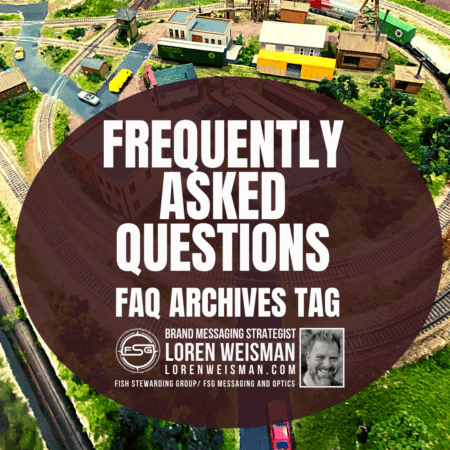 A background of a small toy village with a brown oval and text inside that reads Frequently asked questions.
