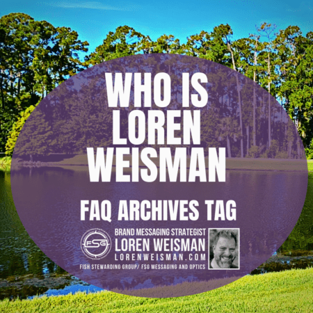 An image of a small pond with green grass in front and trees and sky in the background. In the middle is a purple shaped and transparency oval with the ttext inside that reads Who is Loren Weisman FAQ archives tag.